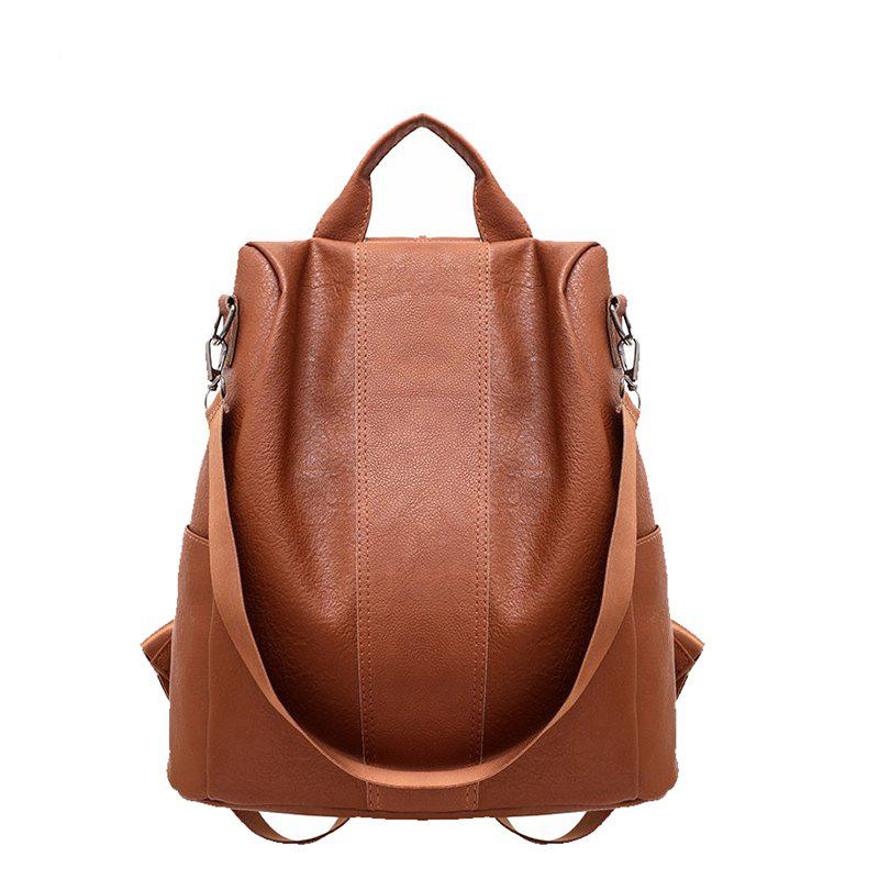 Double Shoulder Female New Fashion Style Soft Fabric Personality Student Bag Mommy Backpack - BROWN HORIZONTAL