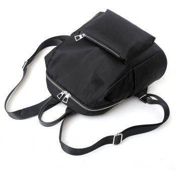 Female Bag New Style Fashion Pure Color Backpack - BLACK