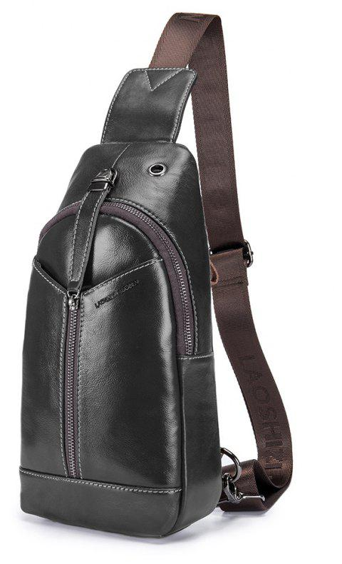 LAOSHIZI LUOSEN 2018 New Men Bag Genuine Leather Cowhide Shoulder Bag - BLACK VERTICAL