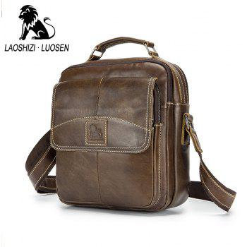 LAOSHIZI LUOSEN New Vintage Genuine Leather Men Bag Casual Business Travel Men's Shoulder Bags Handbag Cowhide Crossbody - BROWN VERTICAL