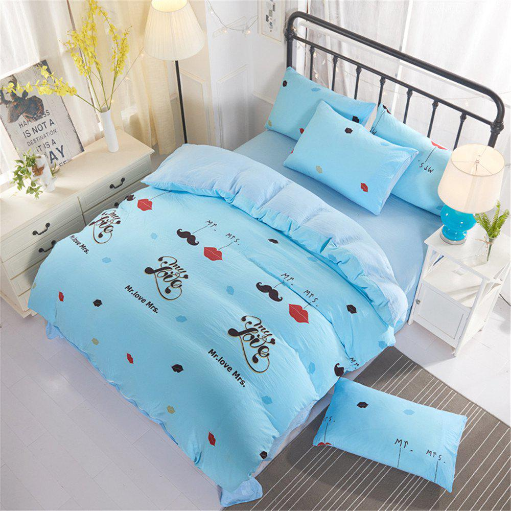 Aloe Cotton Student Dormitory Bedding 1.5M/1.8M 4PCS/SET - BLUE QUEEN