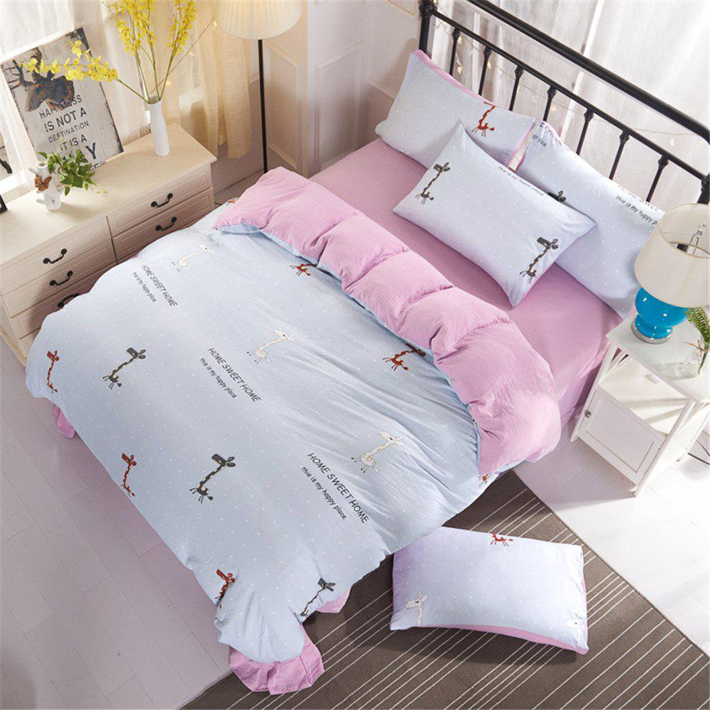 Aloe Cotton Student Dormitory Bedding 1.5M/1.8M 4PCS/SET - PINK / WHITE QUEEN