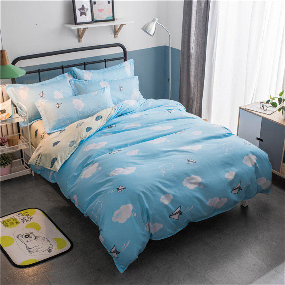 Cotton Four Pieces Bedding Sets Active Printing - BLUE FULL
