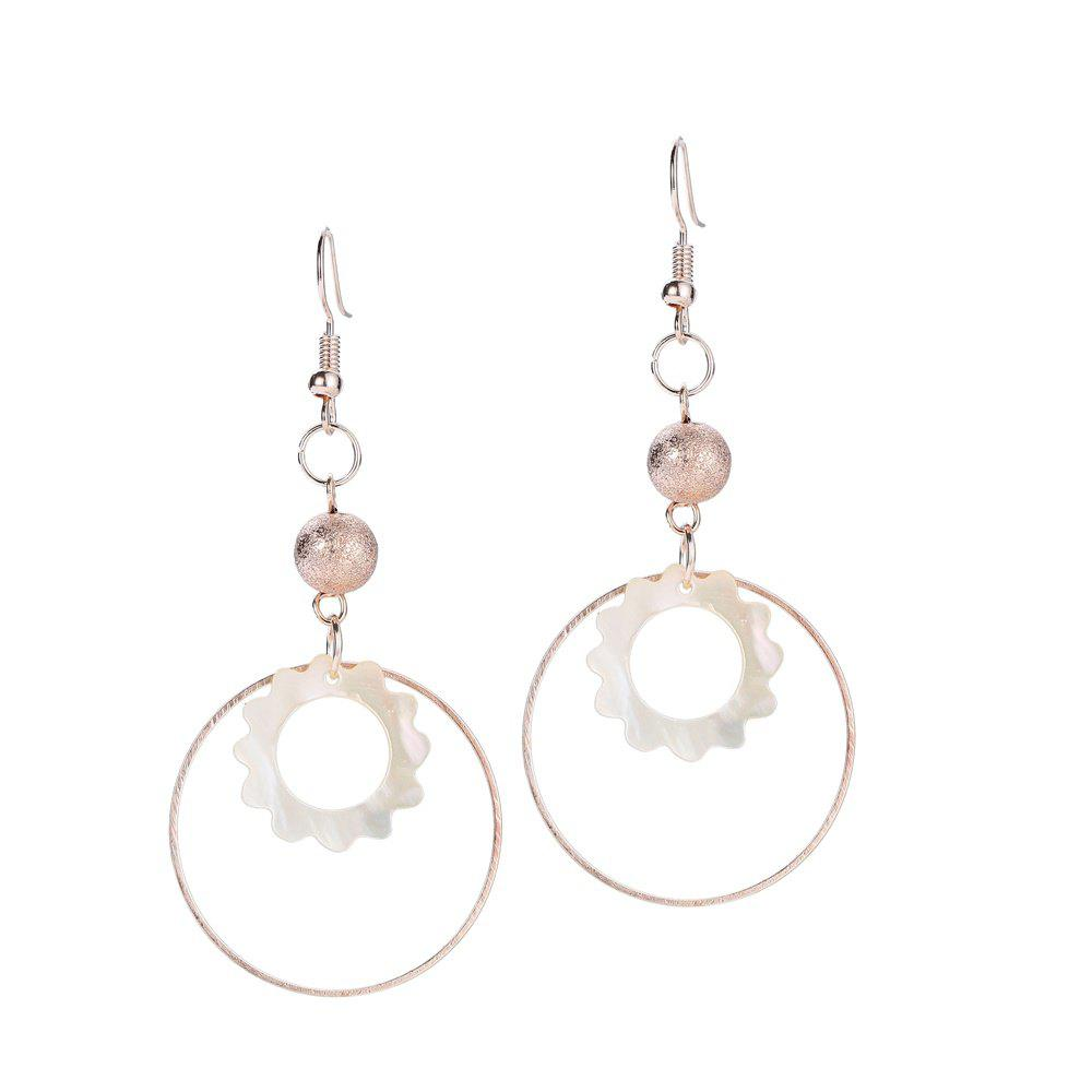 Round Shell Bead Drop Earrings - ROSE GOLD