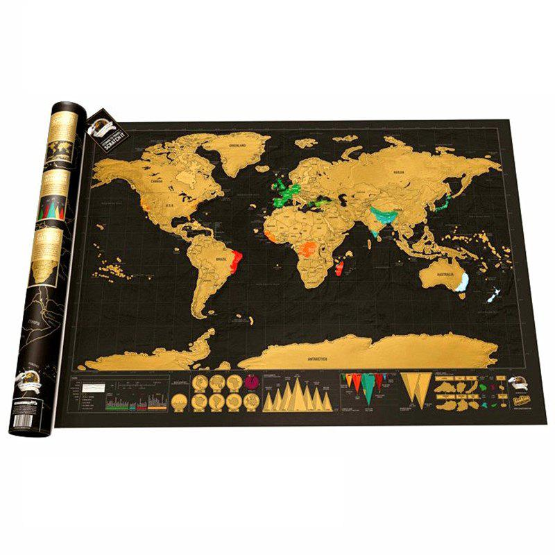 High Quality Black Gold Travel Map World Edition Travel Life - BLACK