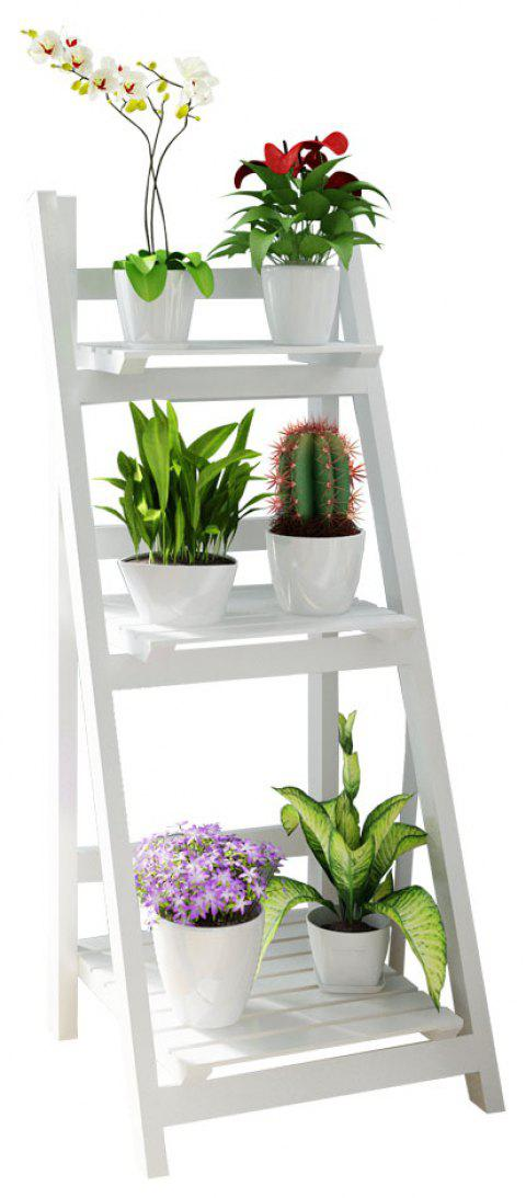 Three Storey Solid Wood  Foldable Plant Stand Flower Ladder Rack - WHITE