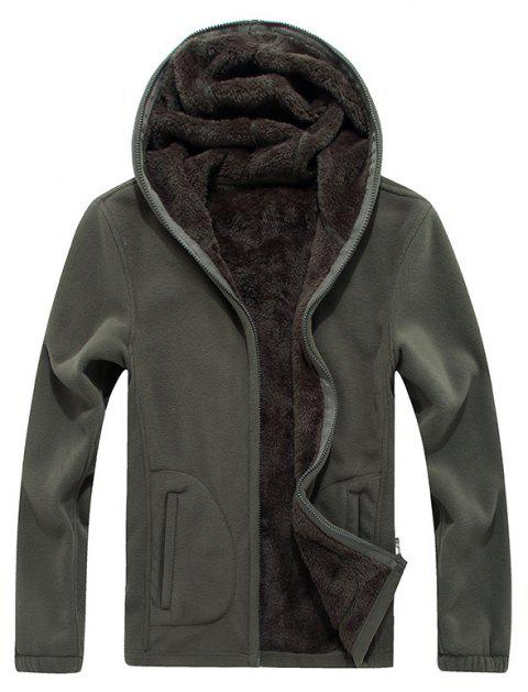 New Autumn and Winter Slim Hooded Cardigan Cashmere Coat - ARMYGREEN 3XL