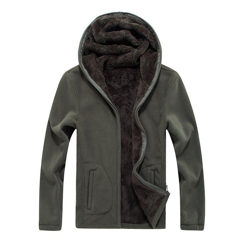 New Autumn and Winter Slim Hooded Cardigan Cashmere Coat - ARMYGREEN XL