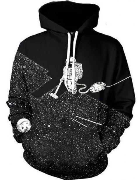 New Astronaut Weeding Digital Printed Hoodie - BLACK 3XL