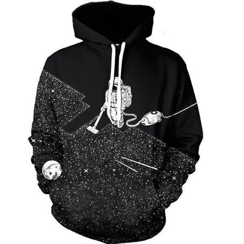 New Astronaut Weeding Digital Printed Hoodie - BLACK L