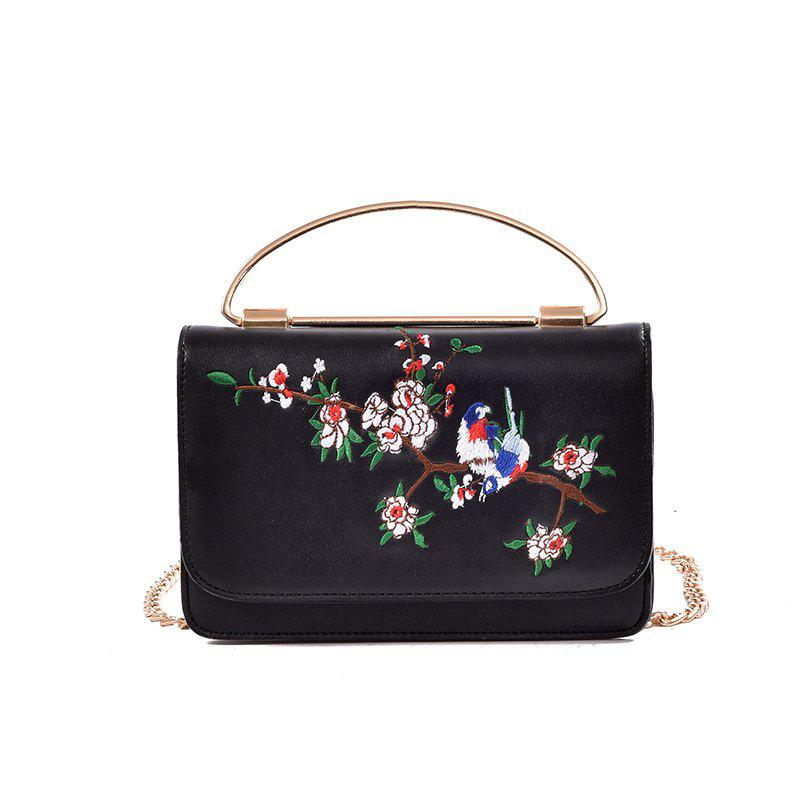 Fashion Creative Embroidered Handbag Shoulder Messenger Bag - BLACK