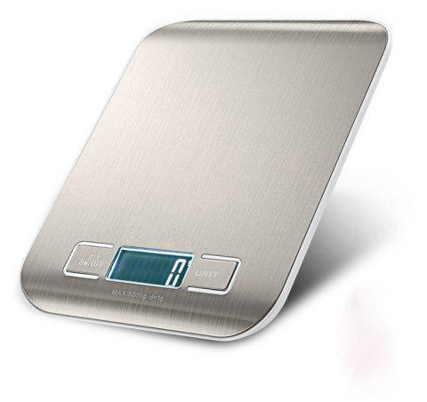 Digital Kitchen Scale Multifunction Food Scale Golden Silver Stainless Steel - SILVER