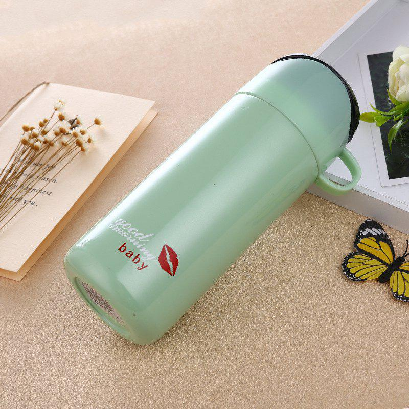 Double Color Lid Stainless Steel Vacuum Cup - GREEN 380ML