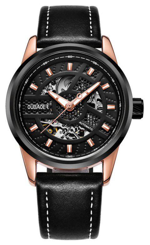 OUBAOER 2002A Automatic Mechanical Hollow Men Watches - BLACK