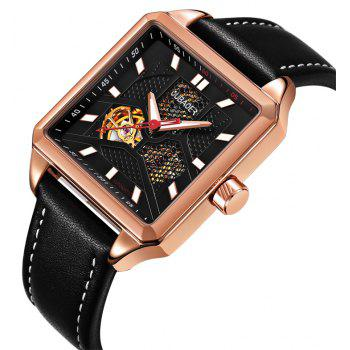 OUBAOER 2003A Square Automatic Mechanical Hollow Men Watches - BLACK / GOLDEN