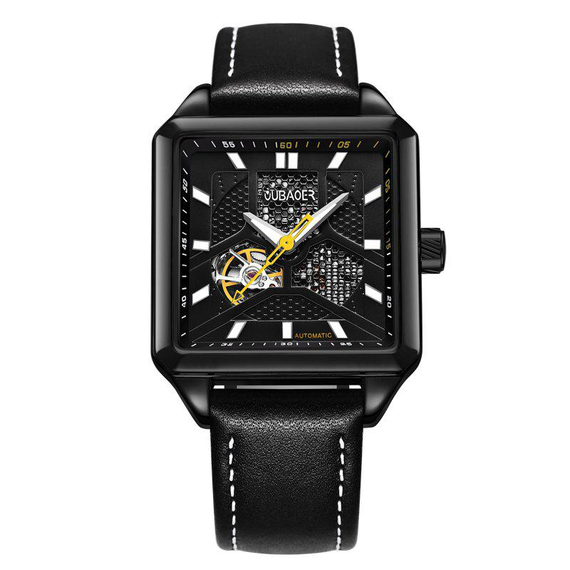OUBAOER 2003A Square Automatic Mechanical Hollow Men Watches - BLACK