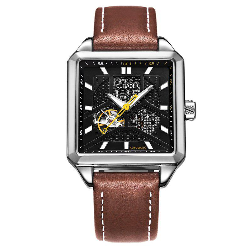 OUBAOER 2003A Square Automatic Mechanical Hollow Men Watches - BROWN