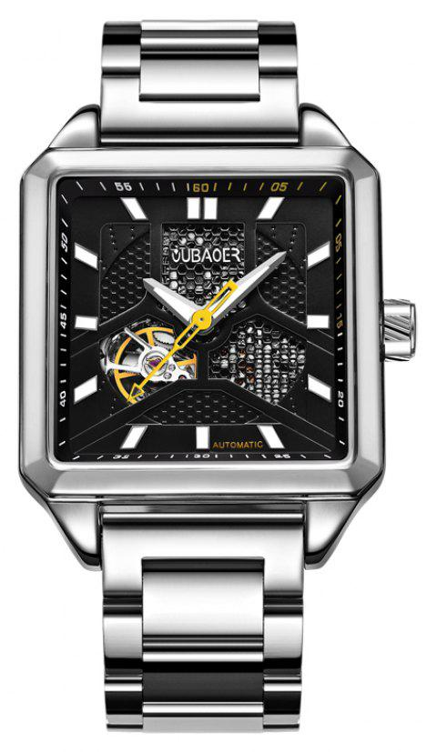 OUBAOER 2003B Square Automatic Mechanical Hollow Men Watches - SILVER