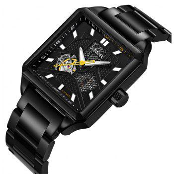 OUBAOER 2003B Square Automatic Mechanical Hollow Men Watches - BLACK