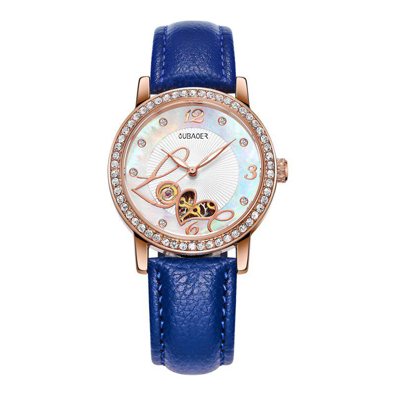 OUBAOER 2005B Automatic Machinery Leather Fashion Women Watch - BLUE