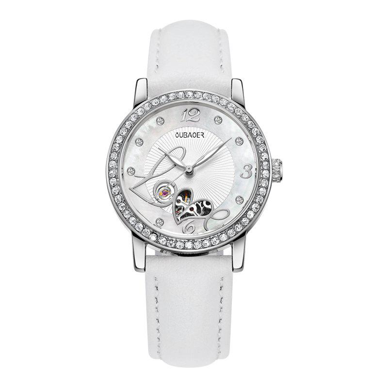 OUBAOER 2005B Automatic Machinery Leather Fashion Women Watch - WHITE