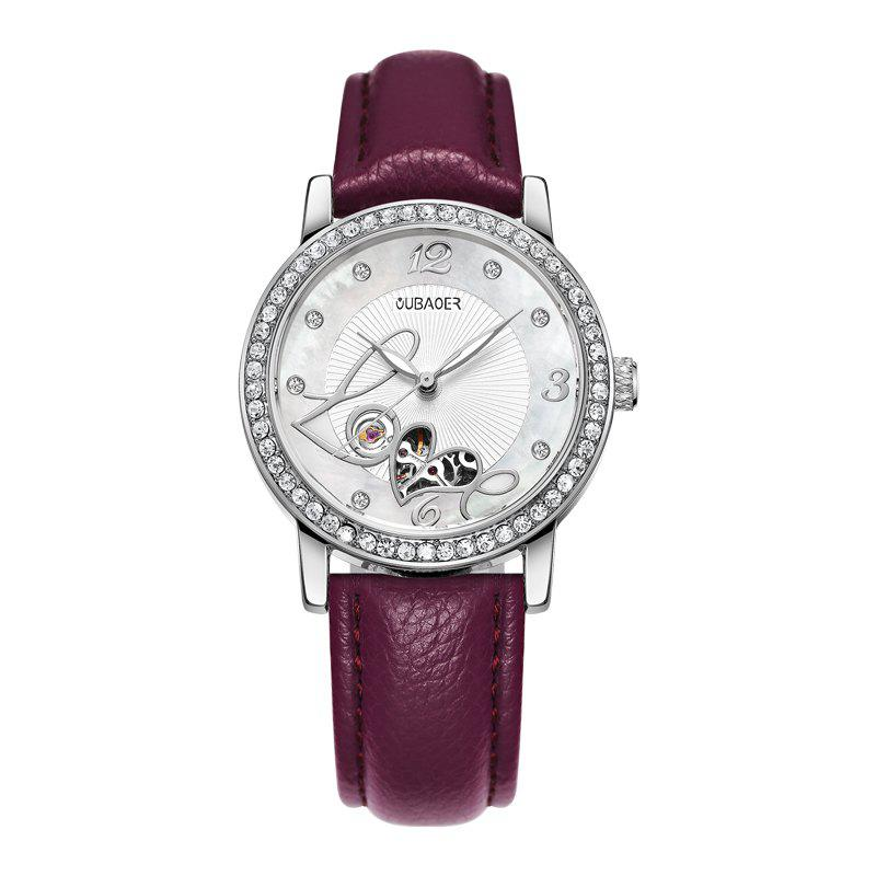 OUBAOER 2005B Automatic Machinery Leather Fashion Women Watch - PURPLE
