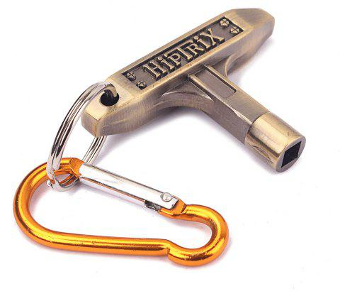 Jazz Drum Skin Tuning Key Tool Wrench with Carabiner - BRONZE