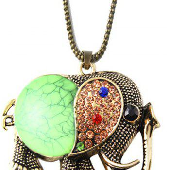 Fashion Vintage Jewelry Accessories Long Design Gem Rhinestone Elephant Necklace Pendant for Women - GREEN