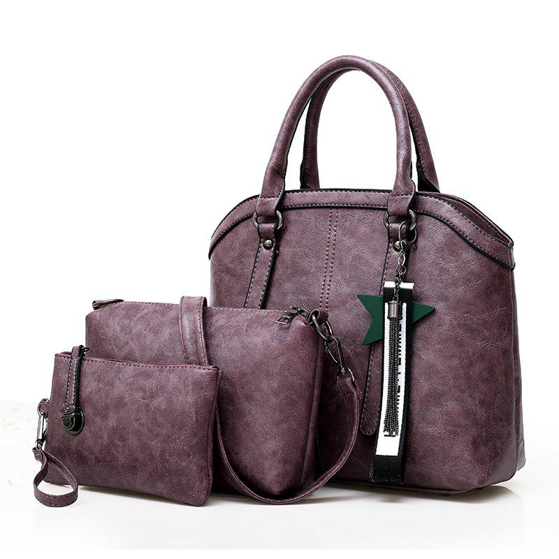 Lady Bag Fashion Handbag Wild Shoulder Messenger Three-Piece - PURPLE