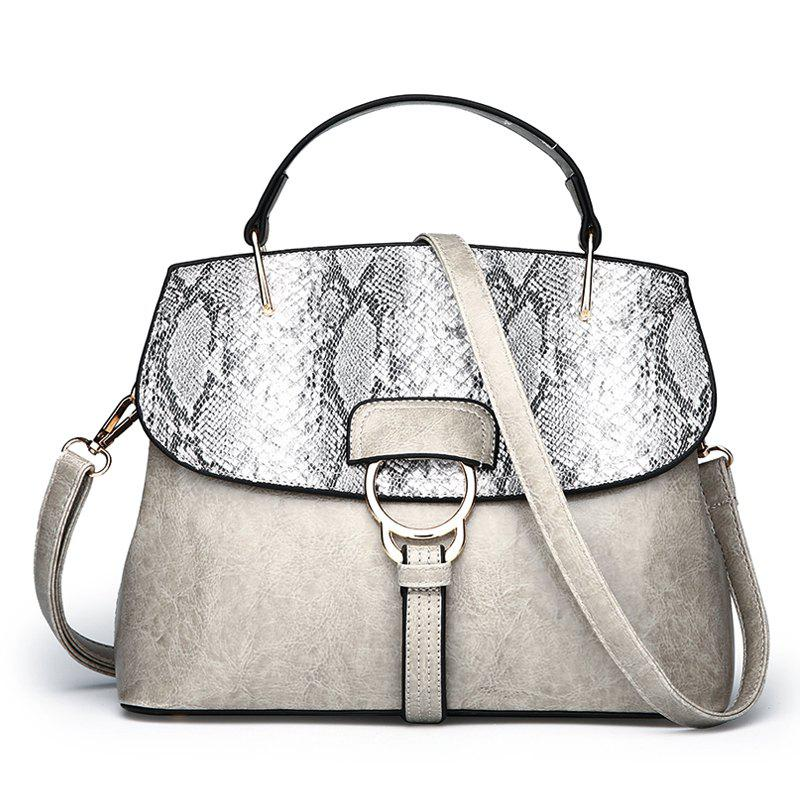Wild Messenger Snakeskin Shell Shell Oil Wax Shoulder Bag Shoulder Handbags - GRAY