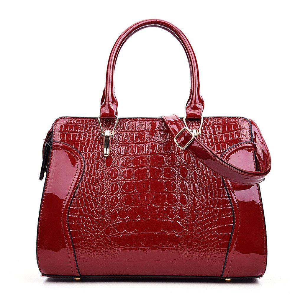 Fashionable Personality Crocodile Pattern Shoulder Simple Diagonal Cross Handbag - RED