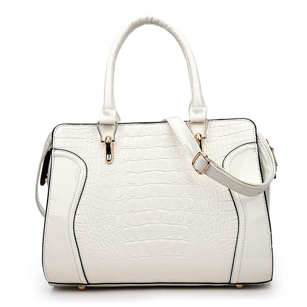Fashionable Personality Crocodile Pattern Shoulder Simple Diagonal Cross Handbag - WHITE