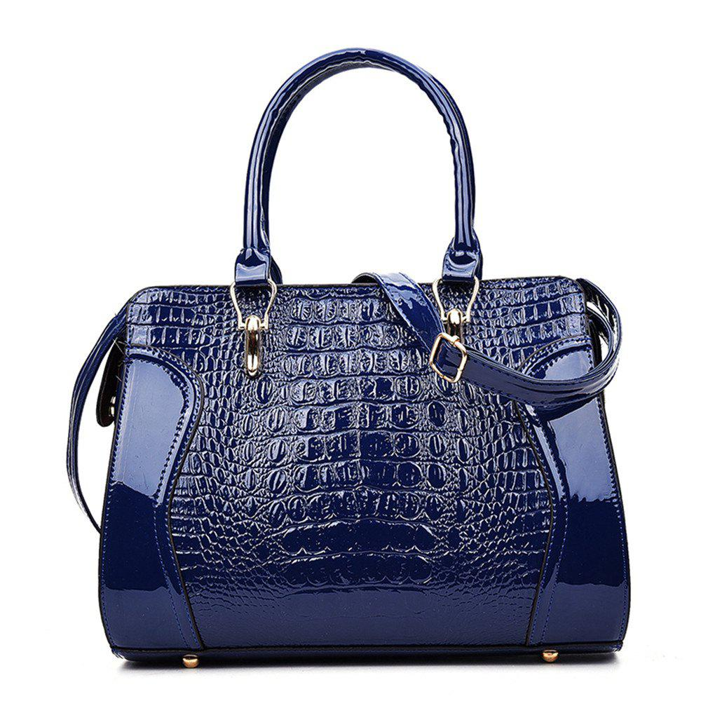 Fashionable Personality Crocodile Pattern Shoulder Simple Diagonal Cross Handbag - BLUE
