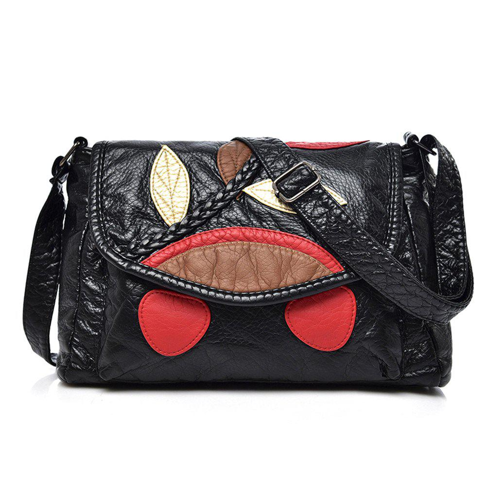 Female Shoulder Messenger Bag Washed Soft Leather Mother Bag - BLACK