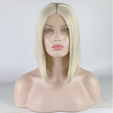 Medium Length Bob Style Blonde Color Heat Resistant Synthetic Hair Lace Front Wigs for Women - LIGHT BLONDE 60M613 16INCH