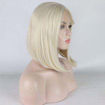 Medium Length Bob Style Blonde Color Heat Resistant Synthetic Hair Lace Front Wigs for Women - LIGHT BLONDE M 16INCH