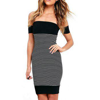 New Leaking Striped Splicing Bandage Dress - BLACK S