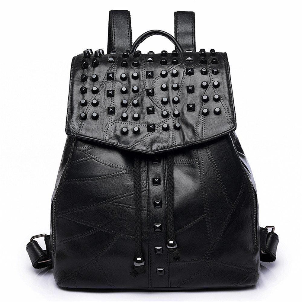 Backpack Handbags Traveling Mummy Fashion Rivets Student Bags - BLACK