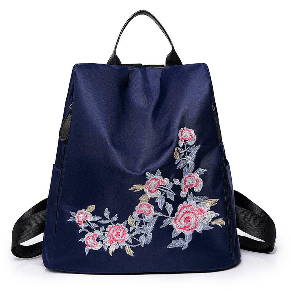 Embroidery Shoulder Bag Female Fashion Wild Female Anti-theft  Backpack - BLUE