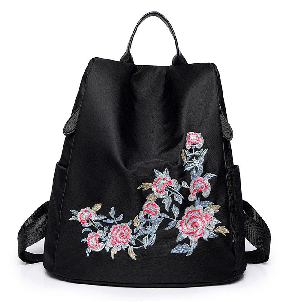 Embroidery Shoulder Bag Female Fashion Wild Female Anti-theft  Backpack - BLACK