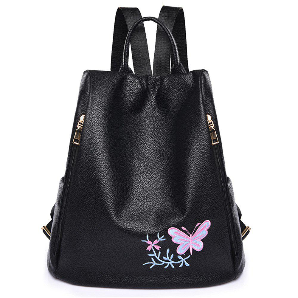 Embroidered Oxford Cloth Shoulder Female Wild Canvas Lady Anti-theft Backpack Student Bag - PINK