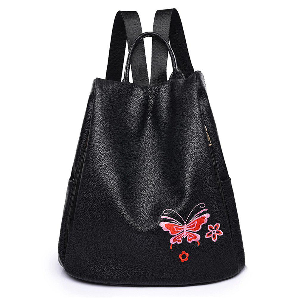 Embroidered Oxford Cloth Shoulder Female Wild Canvas Lady Anti-theft Backpack Student Bag - RED