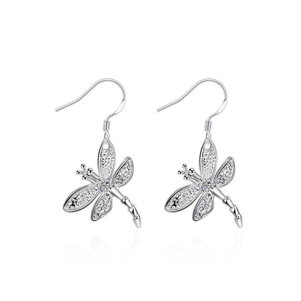 Fashion Graceful Silver Plated Dragonfly Drop Earrings Charm Jewelry - SILVER