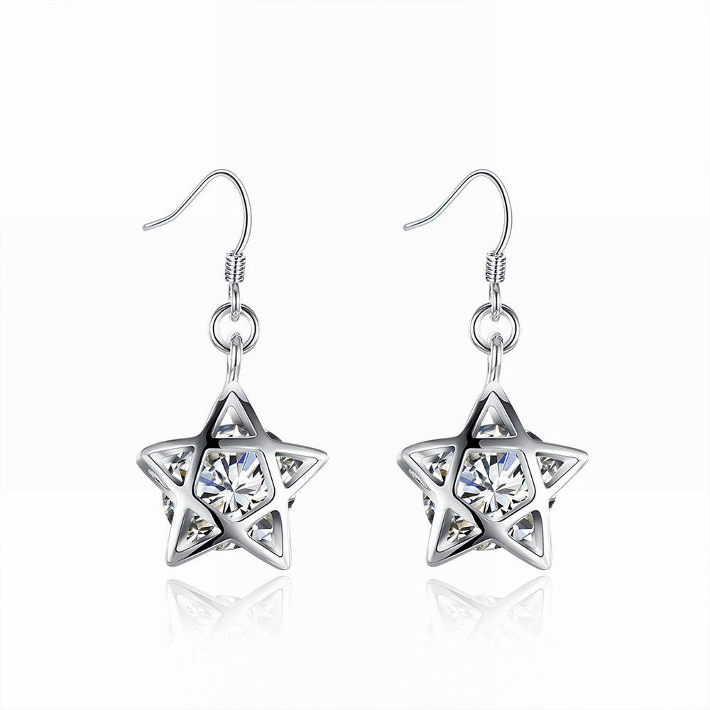Silver Plated Zircon Star Earrings Charm Jewelry Gift For Women - SILVER