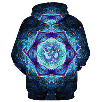 Trendy Pattern Printed Hoodie - BLUE XL
