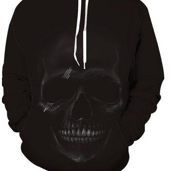 Fashion Skull Printed Hoodie - BLACK 2XL