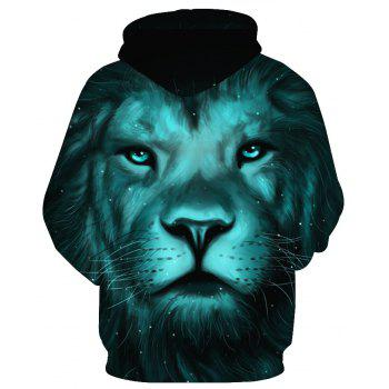 Fashion Lion Head Printed Hoodie - LION PATTERN 5XL