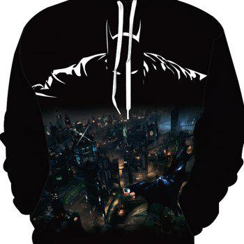Fashion Batman Printed Hoodie - BLACK L