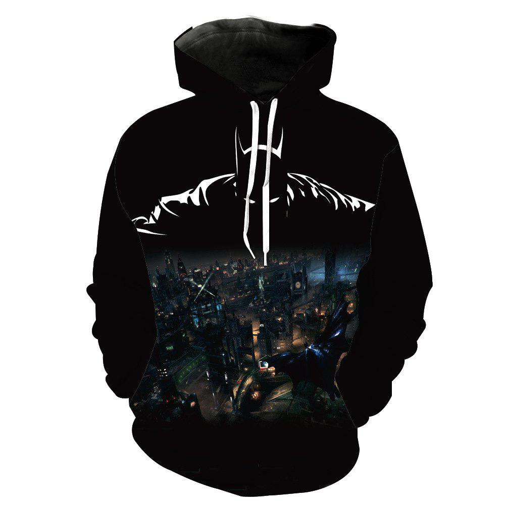 Fashion Batman Printed Hoodie - BLACK M