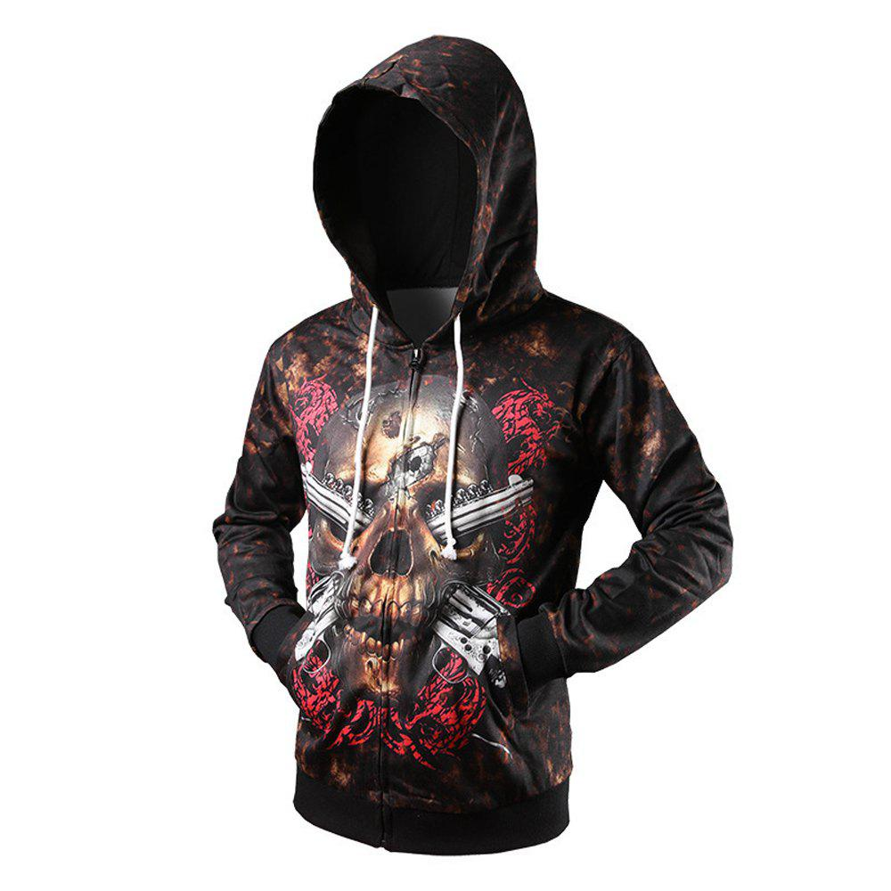 3D Skeleton Three-Dimensional Printing Personalized Cardigan Hoodie - BLACK L